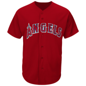 DISCONTINUED Angels Full Button Baseball Jersey  - Adult - MAHD6840