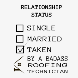 Relationship Status Single Married Taken By A Badass Roofing Technician - Roofing T-shirt Design T-S